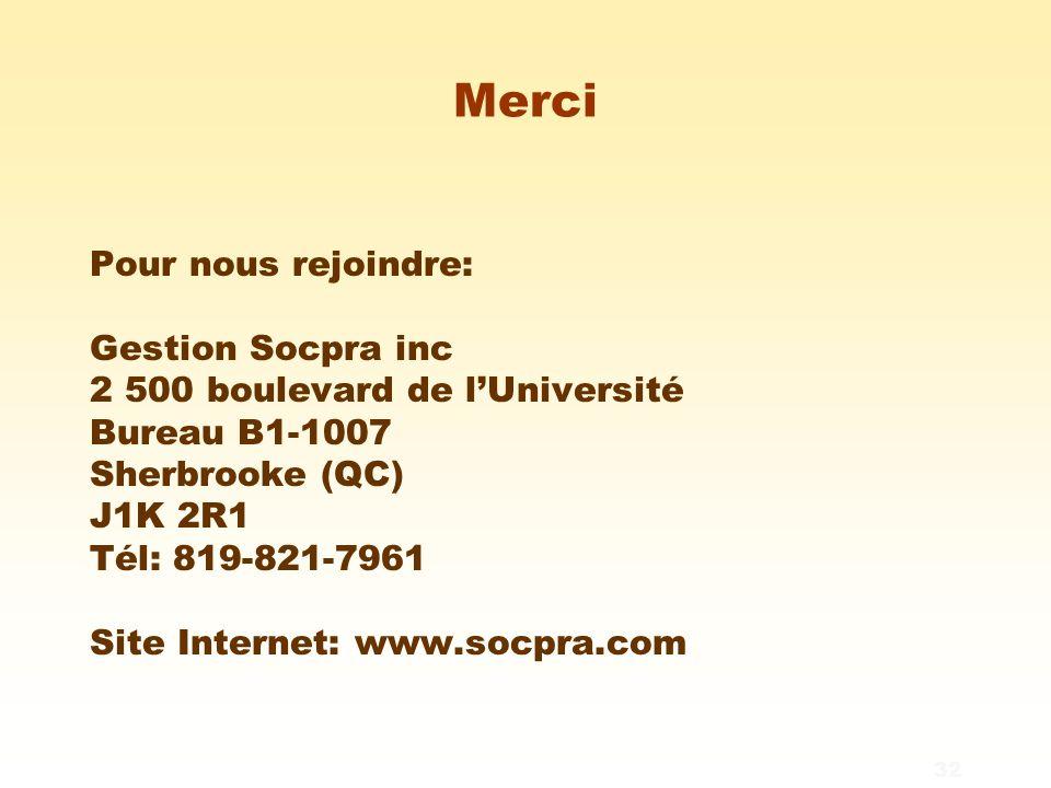 32 Merci Pour nous rejoindre: Gestion Socpra inc 2 500 boulevard de l'Université Bureau B1-1007 Sherbrooke (QC) J1K 2R1 Tél: 819-821-7961 Site Internet: www.socpra.com