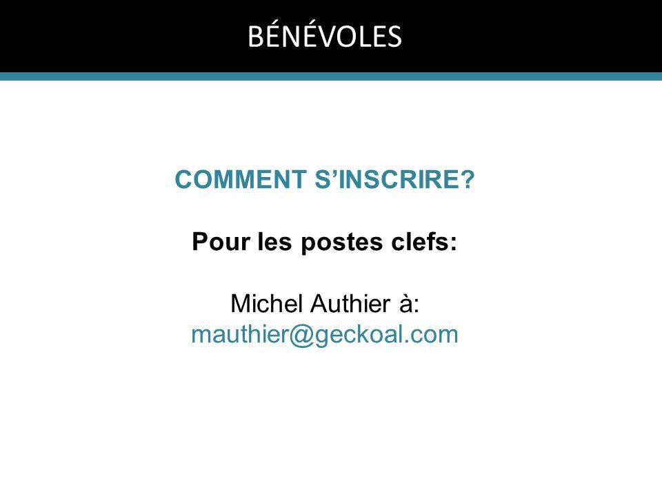 COMMENT S'INSCRIRE? Pour les postes clefs: Michel Authier à: mauthier@geckoal.com BÉNÉVOLES