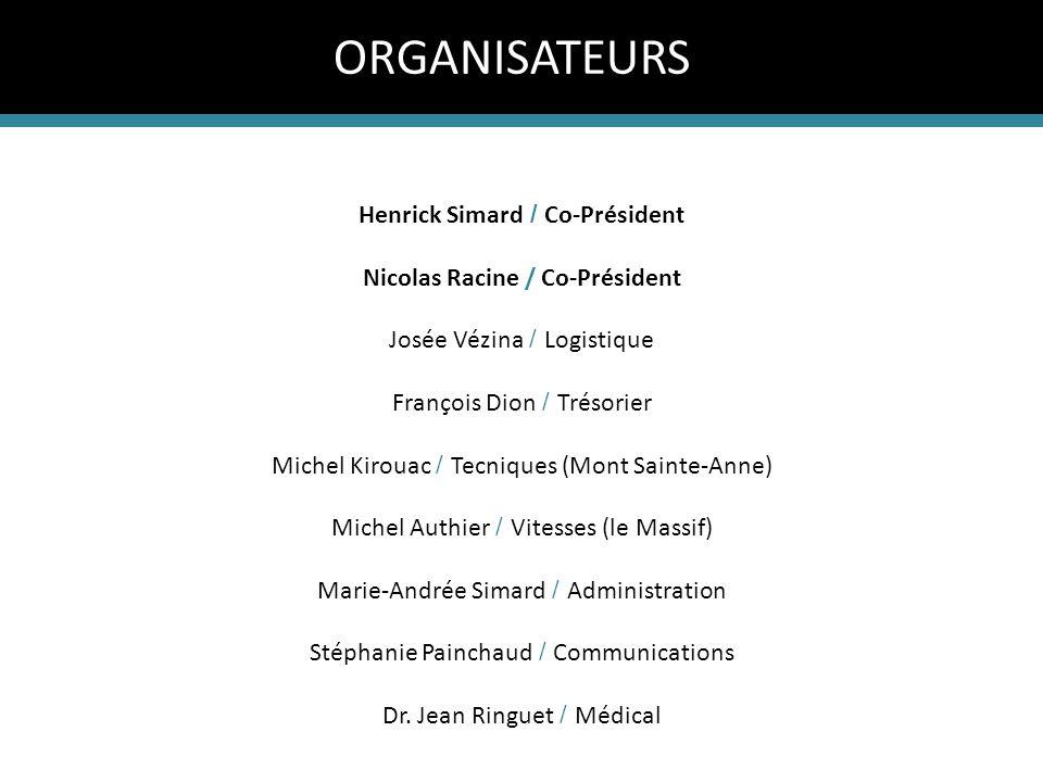 Henrick Simard / Co-Président Nicolas Racine / Co-Président Josée Vézina / Logistique François Dion / Trésorier Michel Kirouac / Tecniques (Mont Saint