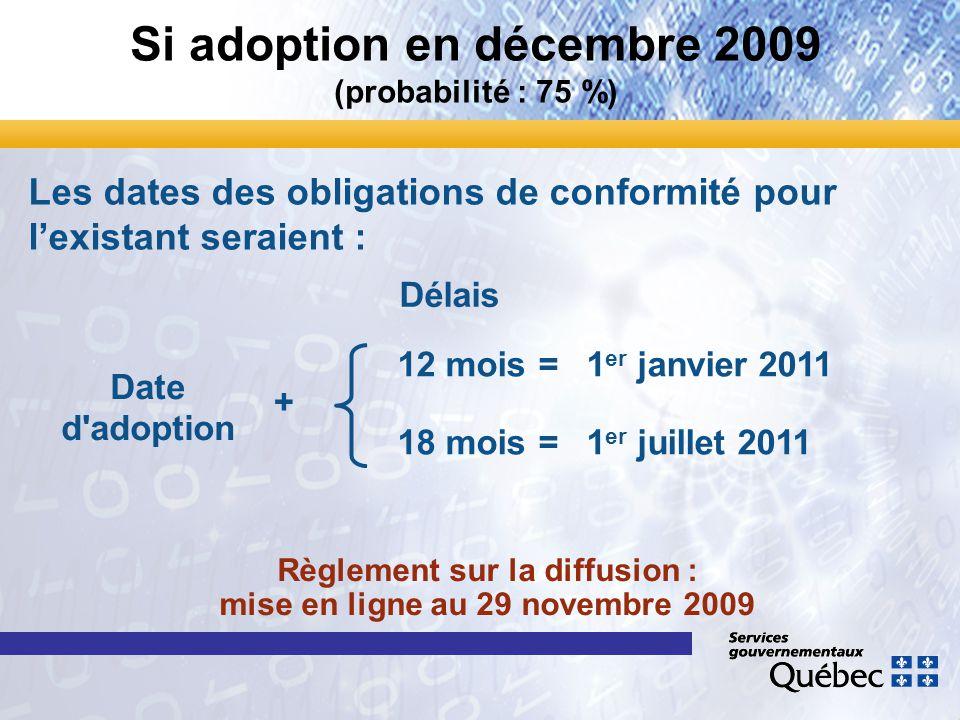 Si adoption en décembre 2009 (probabilité : 75 %) Date d'adoption 12 mois=1 er janvier 2011 18 mois=1 er juillet 2011 Les dates des obligations de con