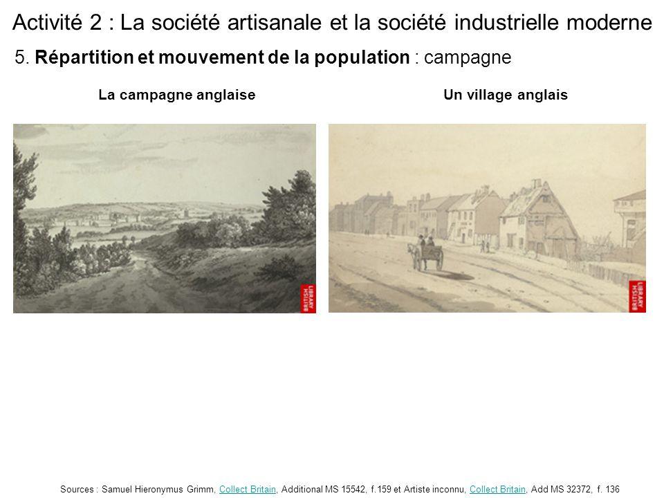 Activité 2 : La société artisanale et la société industrielle moderne La campagne anglaiseUn village anglais Sources : Samuel Hieronymus Grimm, Collec