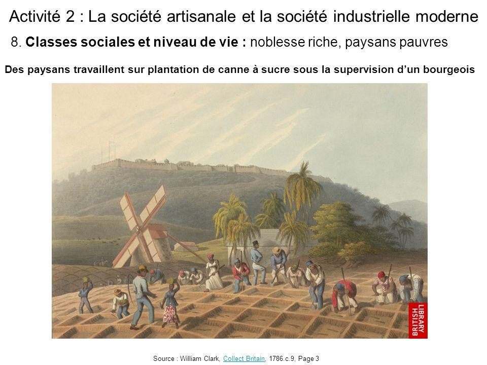Activité 2 : La société artisanale et la société industrielle moderne Des paysans travaillent sur plantation de canne à sucre sous la supervision d'un bourgeois Source : William Clark, Collect Britain, 1786.c.9, Page 3Collect Britain 8.