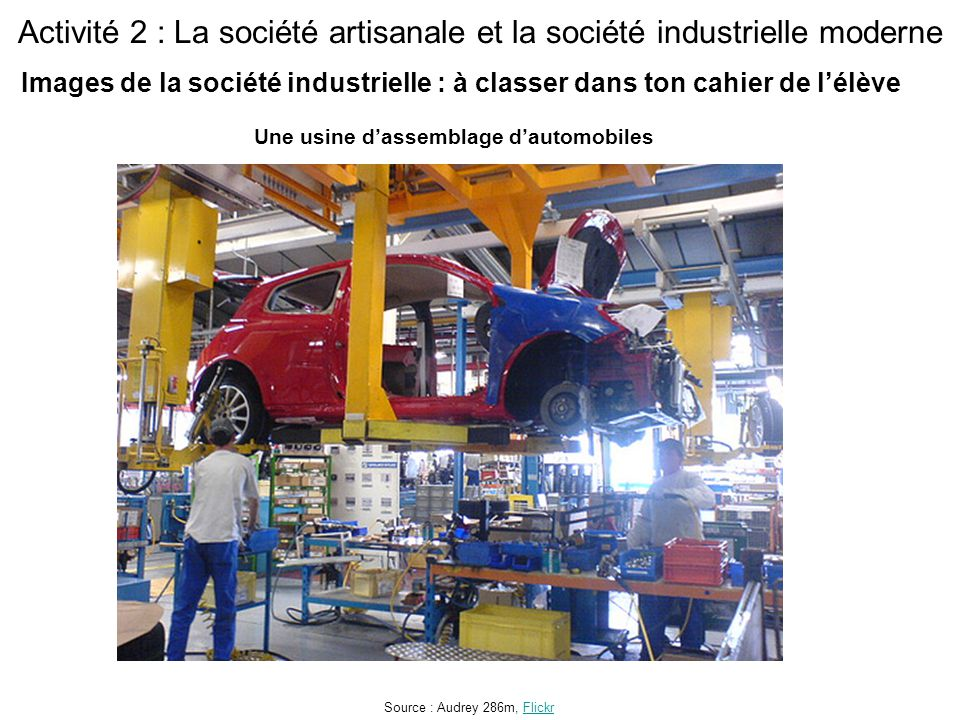 Activité 2 : La société artisanale et la société industrielle moderne Une usine d'assemblage d'automobiles Source : Audrey 286m, FlickrFlickr Images de la société industrielle : à classer dans ton cahier de l'élève