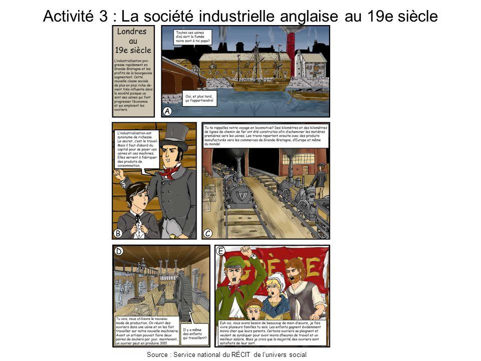 Activité 3 : La société industrielle anglaise au 19e siècle Source : Service national du RÉCIT de l'univers social