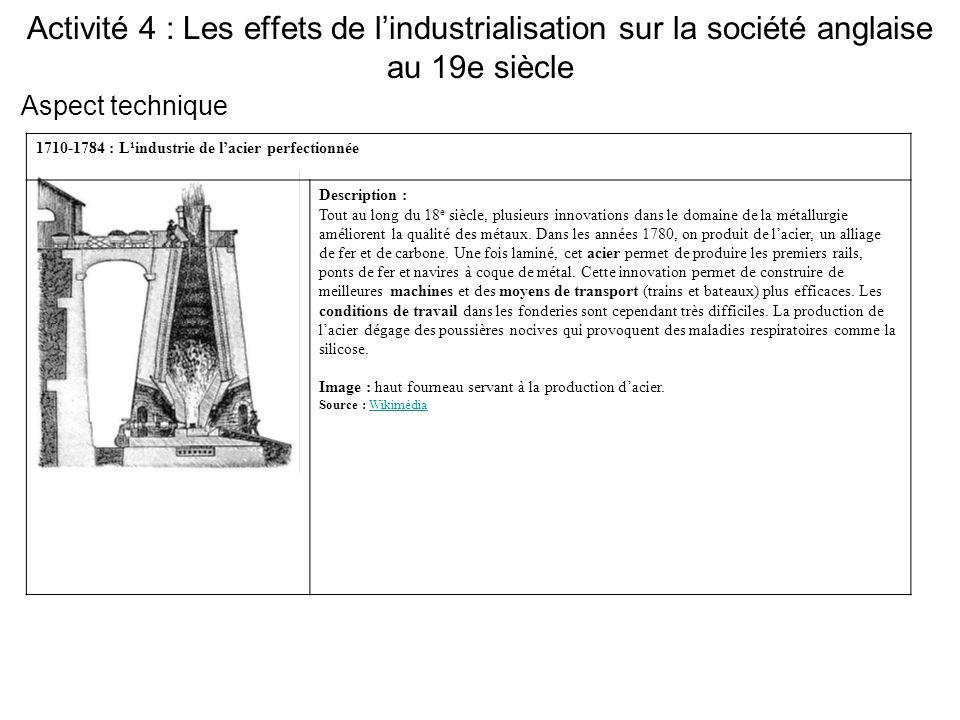 Activité 4 : Les effets de l'industrialisation sur la société anglaise au 19e siècle 1710-1784 : L¹industrie de l'acier perfectionnée Description : To