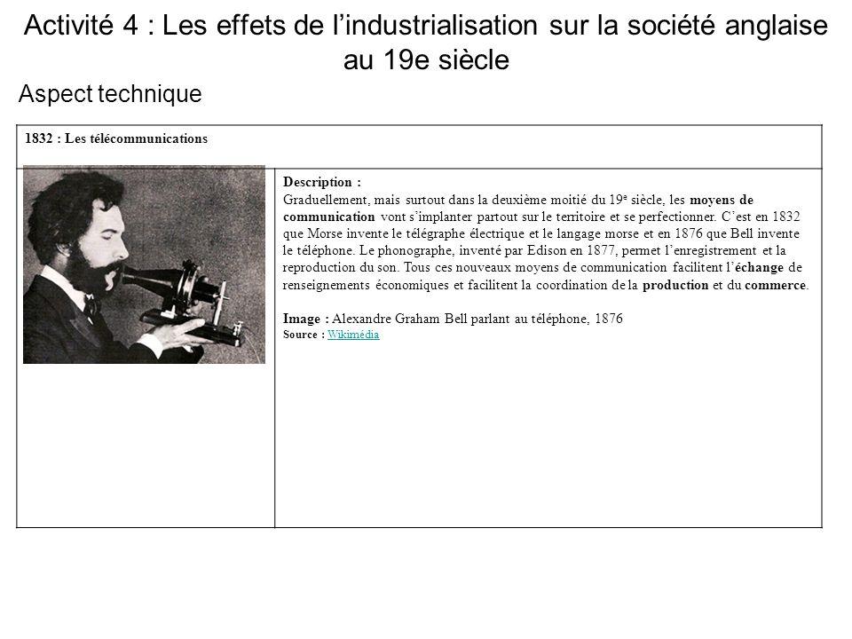 Activité 4 : Les effets de l'industrialisation sur la société anglaise au 19e siècle 1832 : Les télécommunications Description : Graduellement, mais s