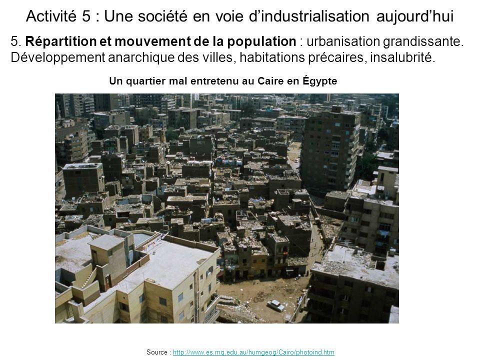 Activité 5 : Une société en voie d'industrialisation aujourd'hui Source : http://www.es.mq.edu.au/humgeog/Cairo/photoind.htmhttp://www.es.mq.edu.au/hu
