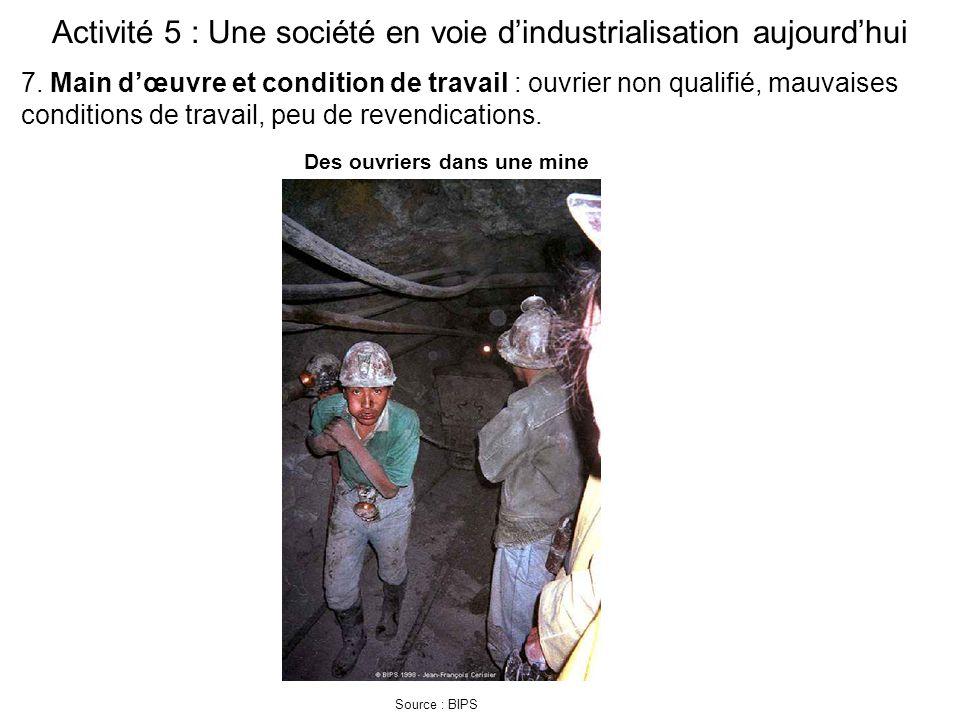 Activité 5 : Une société en voie d'industrialisation aujourd'hui Source : BIPS 7. Main d'œuvre et condition de travail : ouvrier non qualifié, mauvais