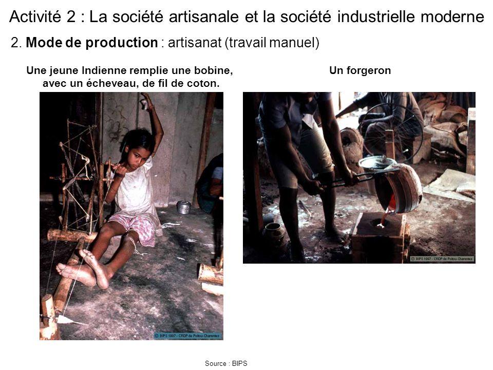 Activité 2 : La société artisanale et la société industrielle moderne Une jeune Indienne remplie une bobine, avec un écheveau, de fil de coton. Un for