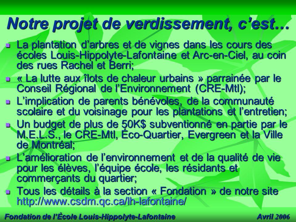 Avril 2006 Fondation de l'École Louis-Hippolyte-Lafontaine Notre projet de verdissement, c'est… La plantation d'arbres et de vignes dans les cours des