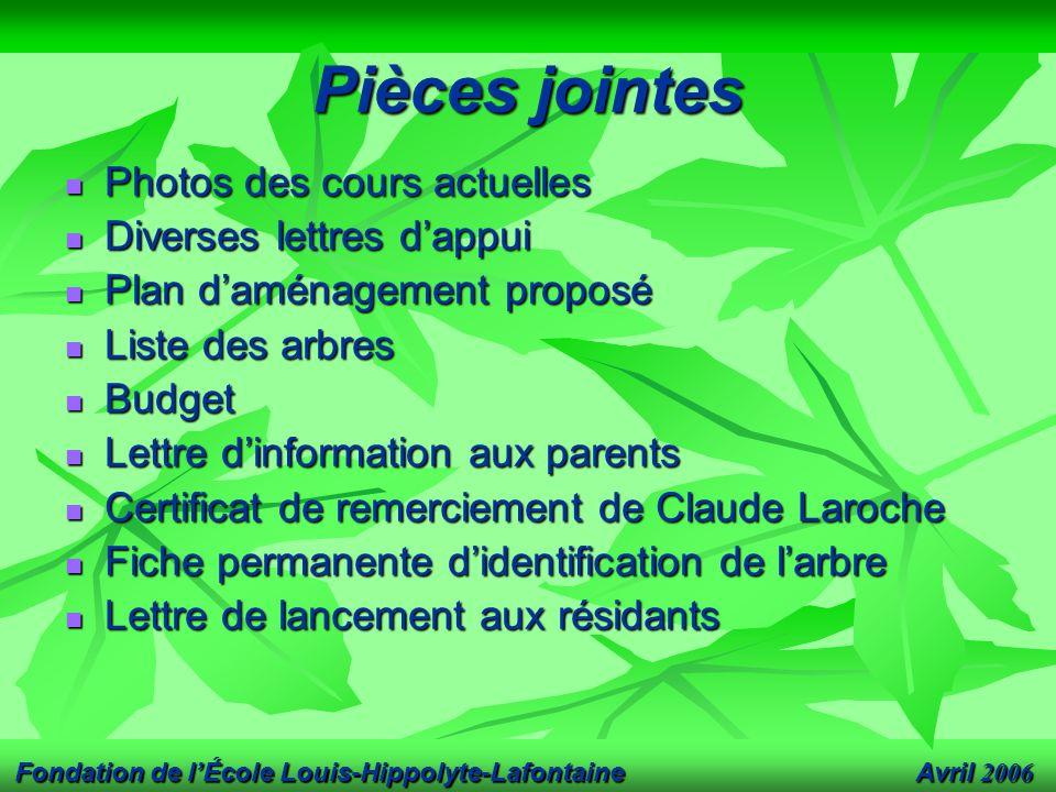 Avril 2006 Fondation de l'École Louis-Hippolyte-Lafontaine Pièces jointes Photos des cours actuelles Photos des cours actuelles Diverses lettres d'app