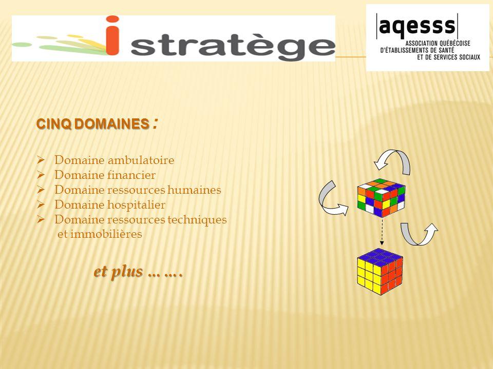 CINQ DOMAINES CINQ DOMAINES :  Domaine ambulatoire  Domaine financier  Domaine ressources humaines  Domaine hospitalier  Domaine ressources techn
