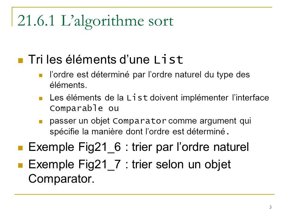3 21.6.1 L'algorithme sort Tri les éléments d'une List l'ordre est déterminé par l'ordre naturel du type des éléments.