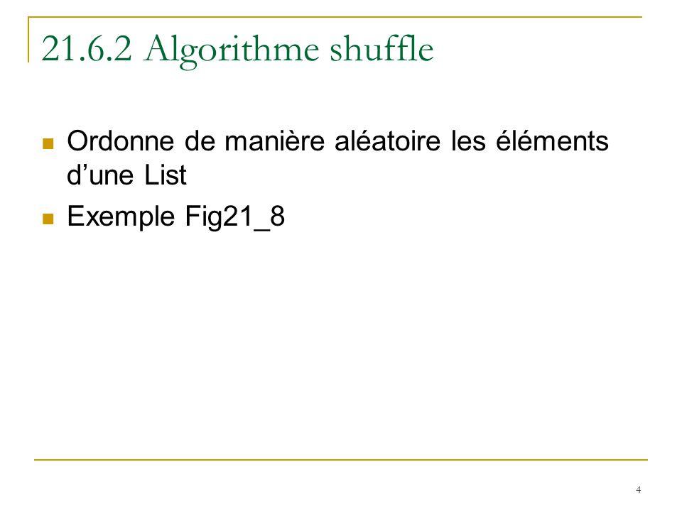 4 21.6.2 Algorithme shuffle Ordonne de manière aléatoire les éléments d'une List Exemple Fig21_8