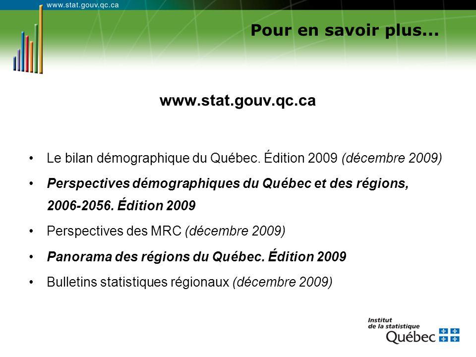 www.stat.gouv.qc.ca Le bilan démographique du Québec. Édition 2009 (décembre 2009) Perspectives démographiques du Québec et des régions, 2006-2056. Éd