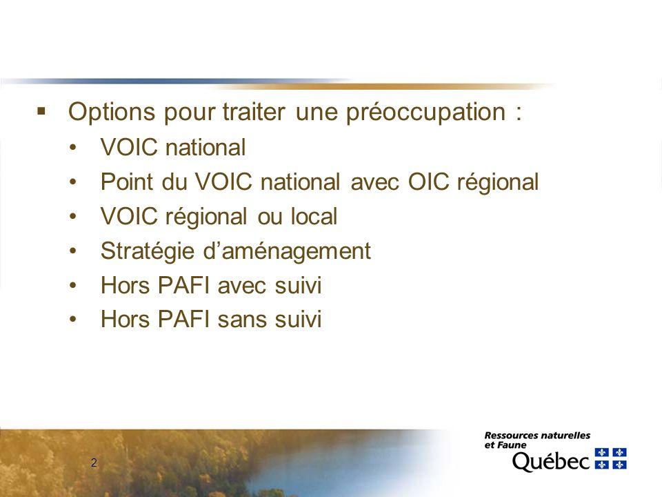 2  Options pour traiter une préoccupation : VOIC national Point du VOIC national avec OIC régional VOIC régional ou local Stratégie d'aménagement Hors PAFI avec suivi Hors PAFI sans suivi