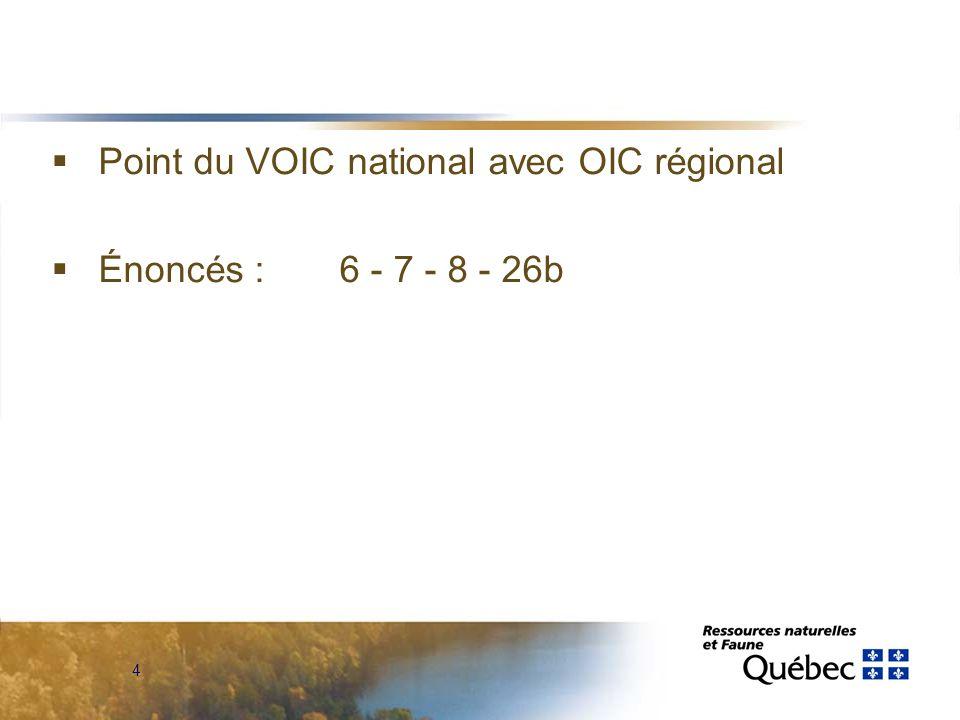 4  Point du VOIC national avec OIC régional  Énoncés : 6 - 7 - 8 - 26b