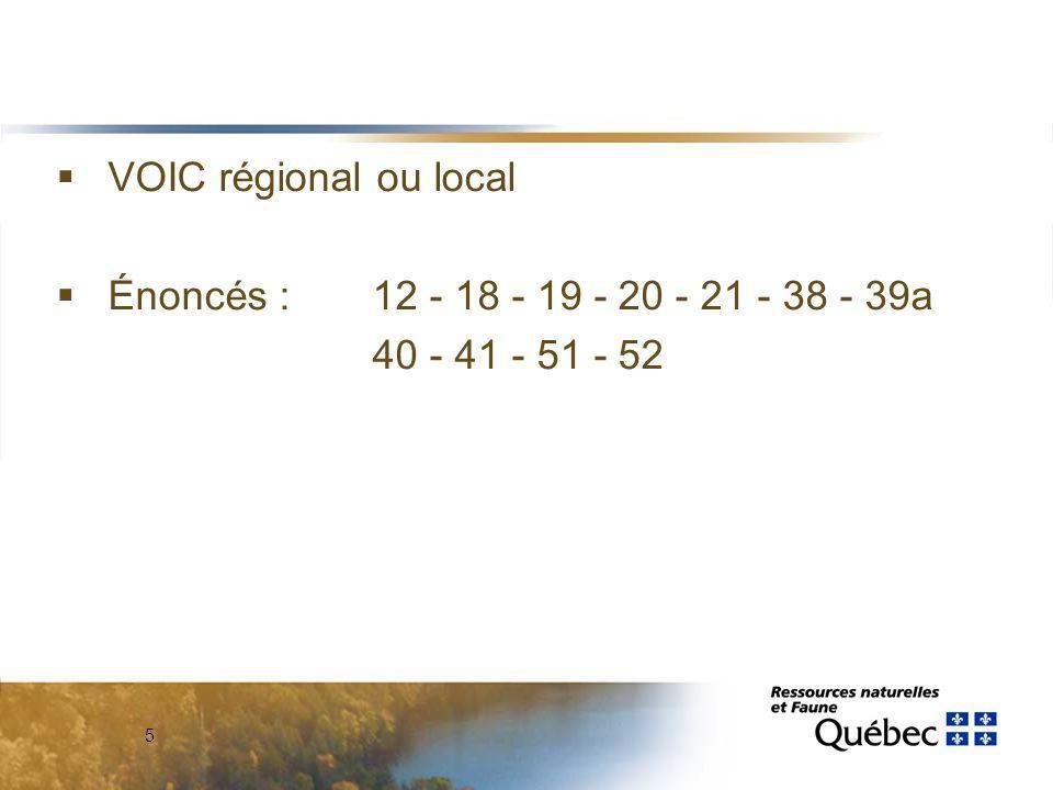 5  VOIC régional ou local  Énoncés : 12 - 18 - 19 - 20 - 21 - 38 - 39a 40 - 41 - 51 - 52