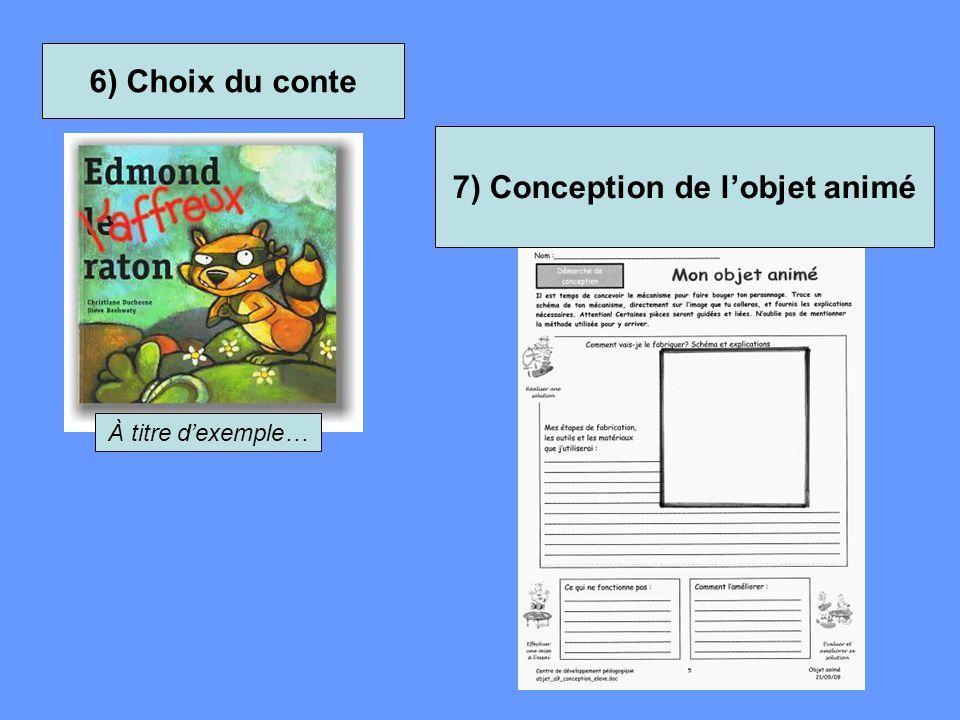 6) Choix du conte À titre d'exemple… 7) Conception de l'objet animé