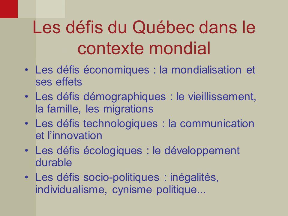 Les défis du Québec dans le contexte mondial Les défis économiques : la mondialisation et ses effets Les défis démographiques : le vieillissement, la