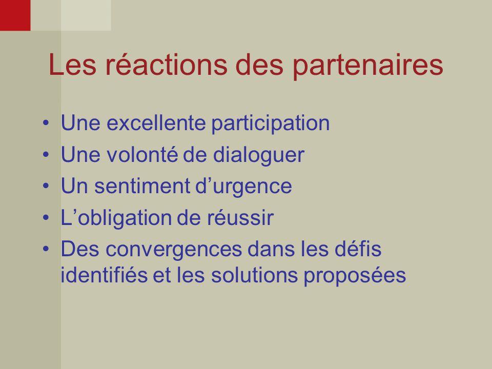 Les réactions des partenaires Une excellente participation Une volonté de dialoguer Un sentiment d'urgence L'obligation de réussir Des convergences dans les défis identifiés et les solutions proposées