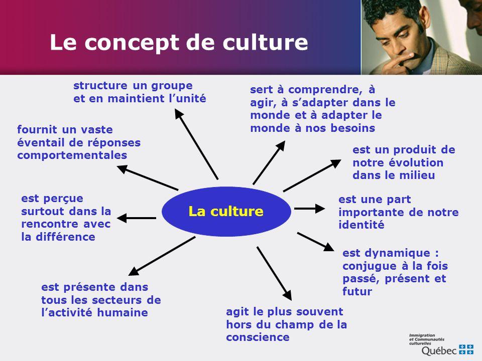 Le concept de culture sert à comprendre, à agir, à s'adapter dans le monde et à adapter le monde à nos besoins est perçue surtout dans la rencontre av