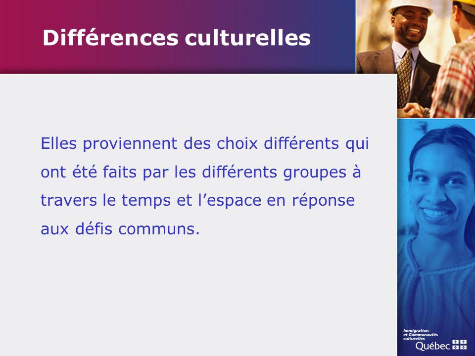 Différences culturelles Elles proviennent des choix différents qui ont été faits par les différents groupes à travers le temps et l'espace en réponse
