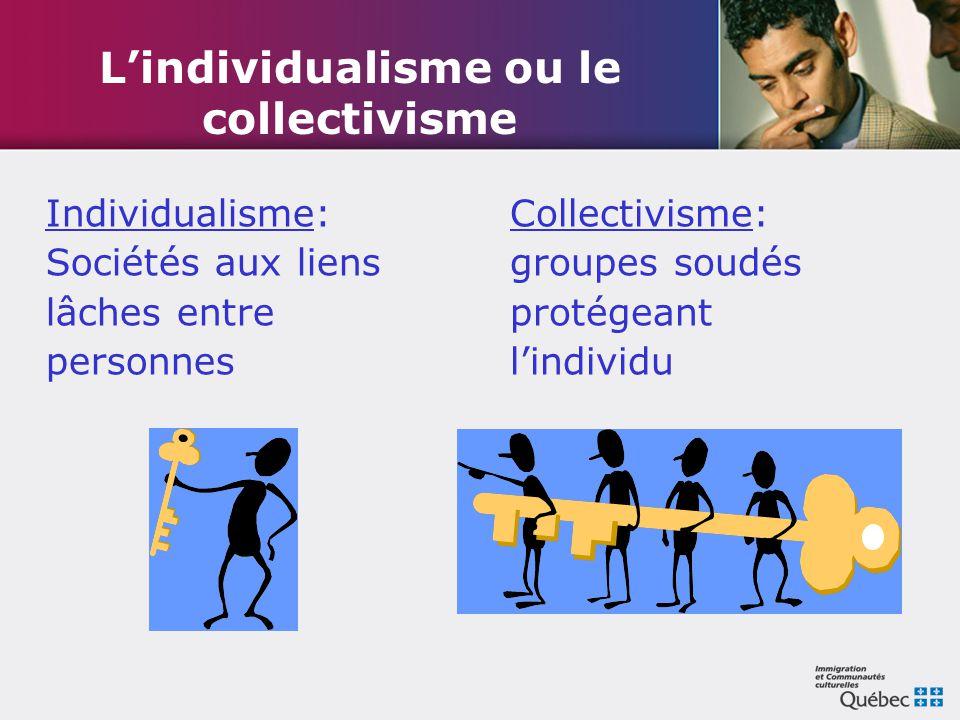 L'individualisme ou le collectivisme Individualisme: Sociétés aux liens lâches entre personnes Collectivisme: groupes soudés protégeant l'individu
