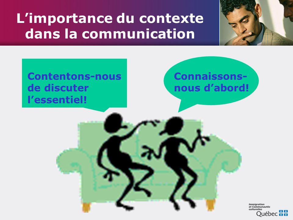 L'importance du contexte dans la communication Contentons-nous de discuter l'essentiel! Connaissons- nous d'abord!