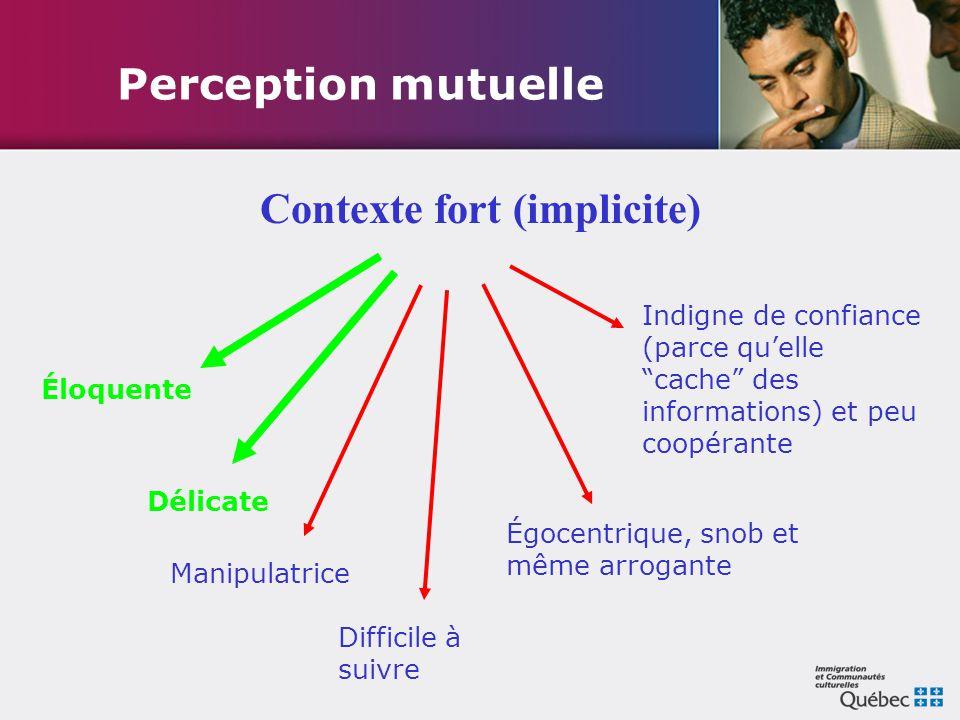"""Perception mutuelle Contexte fort (implicite) Délicate Éloquente Égocentrique, snob et même arrogante Indigne de confiance (parce qu'elle """"cache"""" des"""