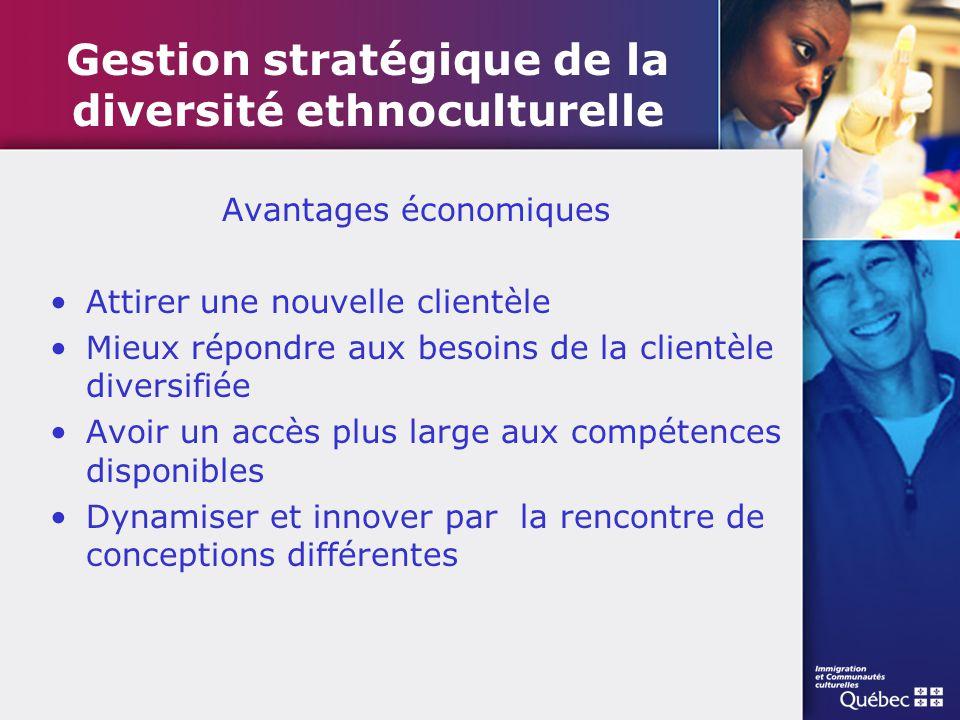 Gestion stratégique de la diversité ethnoculturelle Avantages économiques Attirer une nouvelle clientèle Mieux répondre aux besoins de la clientèle di