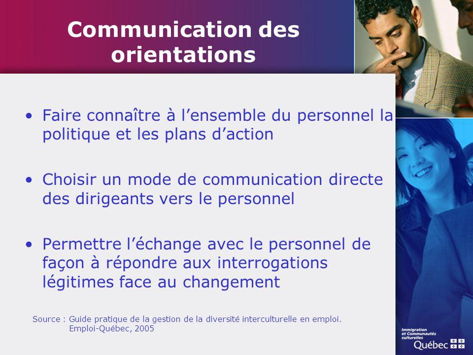 Faire connaître à l'ensemble du personnel la politique et les plans d'action Choisir un mode de communication directe des dirigeants vers le personnel