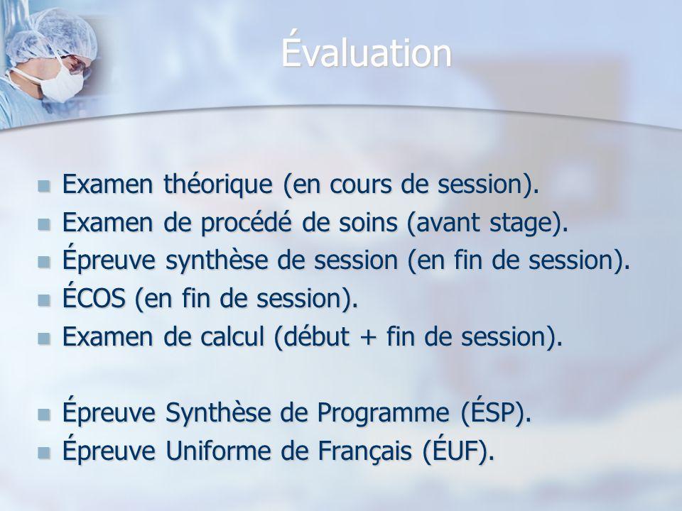 Évaluation Examen théorique (en cours de session). Examen théorique (en cours de session). Examen de procédé de soins (avant stage). Examen de procédé