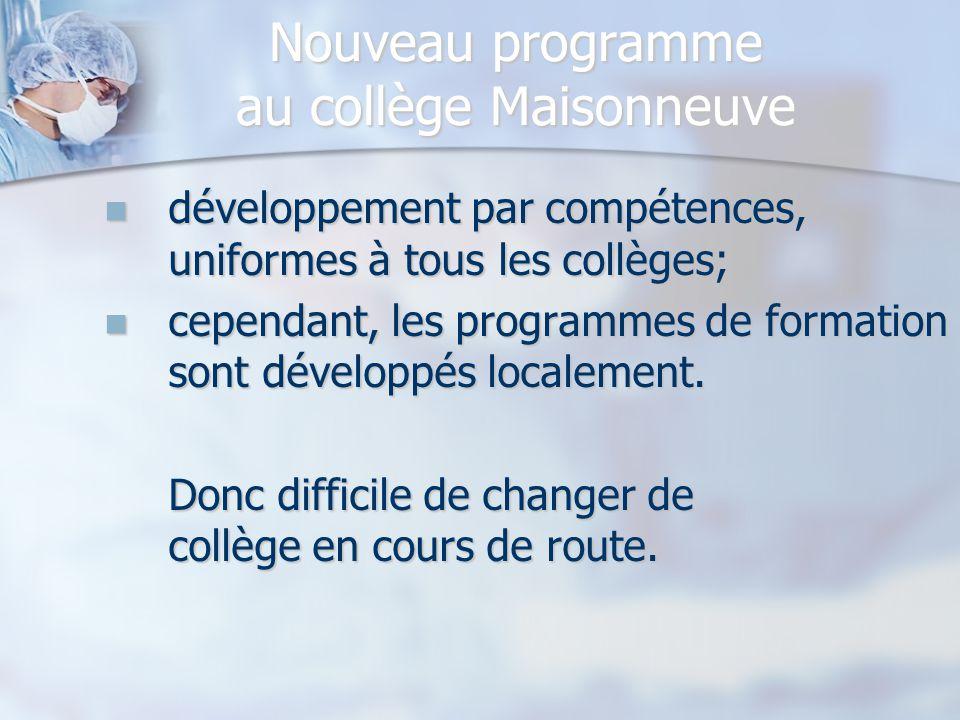 Nouveau programme au collège Maisonneuve Les stages débutent dès la première session permet de mettre l'étudiant en contact avec le milieu; permet de mettre l'étudiant en contact avec le milieu; vise à donner une idée claire de la profession d'infirmière.