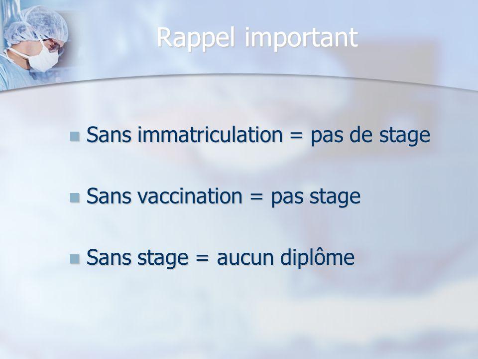 Rappel important Sans immatriculation = pas de stage Sans immatriculation = pas de stage Sans vaccination = pas stage Sans vaccination = pas stage San