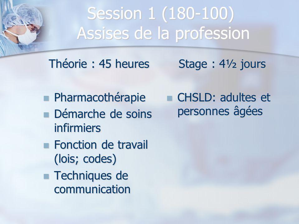 Session 1 (180-100) Assises de la profession Théorie : 45 heures Pharmacothérapie Pharmacothérapie Démarche de soins infirmiers Démarche de soins infi