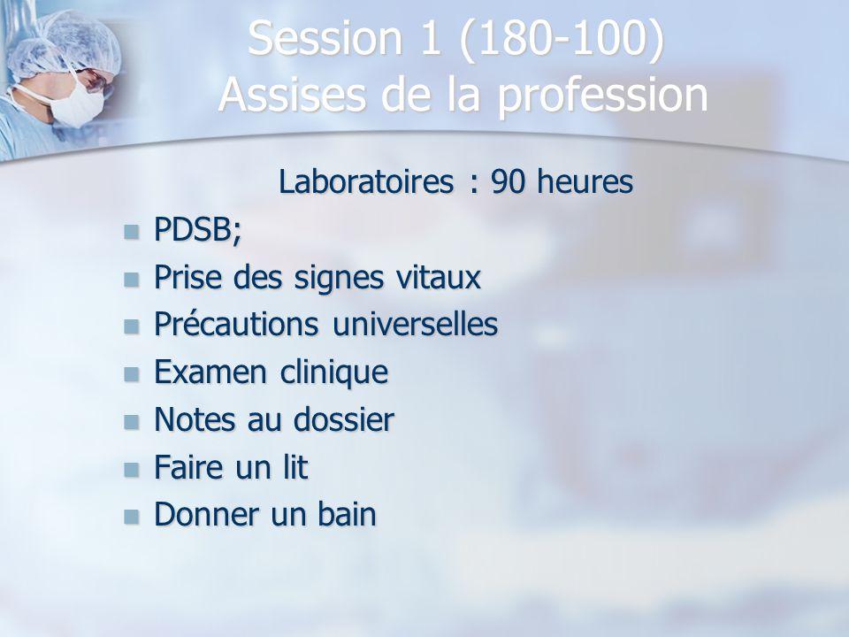 Session 1 (180-100) Assises de la profession Laboratoires : 90 heures PDSB; PDSB; Prise des signes vitaux Prise des signes vitaux Précautions universe