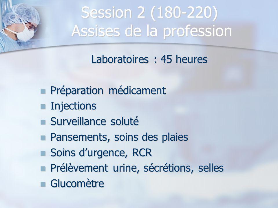 Session 2 (180-220) Assises de la profession Laboratoires : 45 heures Préparation médicament Préparation médicament Injections Injections Surveillance