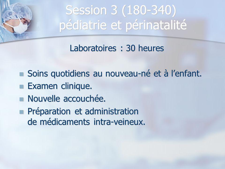 Session 3 (180-340) pédiatrie et périnatalité Laboratoires : 30 heures Soins quotidiens au nouveau-né et à l'enfant. Soins quotidiens au nouveau-né et