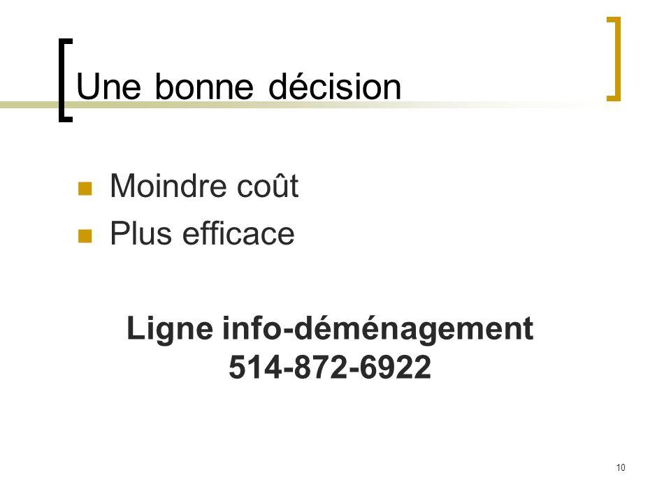10 Une bonne décision Moindre coût Plus efficace Ligne info-déménagement 514-872-6922