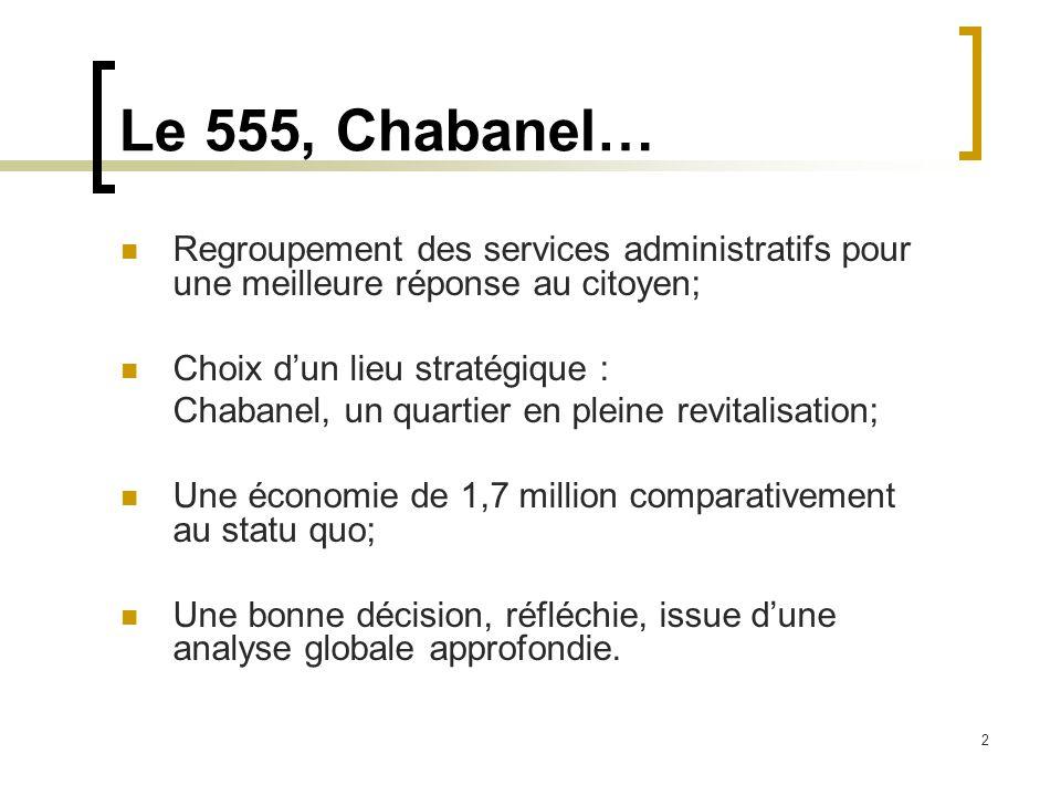 2 Le 555, Chabanel… Regroupement des services administratifs pour une meilleure réponse au citoyen; Choix d'un lieu stratégique : Chabanel, un quartier en pleine revitalisation; Une économie de 1,7 million comparativement au statu quo; Une bonne décision, réfléchie, issue d'une analyse globale approfondie.