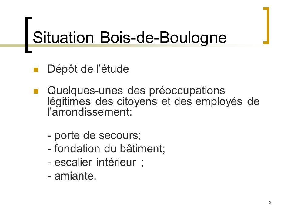8 Situation Bois-de-Boulogne Dépôt de l'étude Quelques-unes des préoccupations légitimes des citoyens et des employés de l'arrondissement: - porte de secours; - fondation du bâtiment; - escalier intérieur ; - amiante.