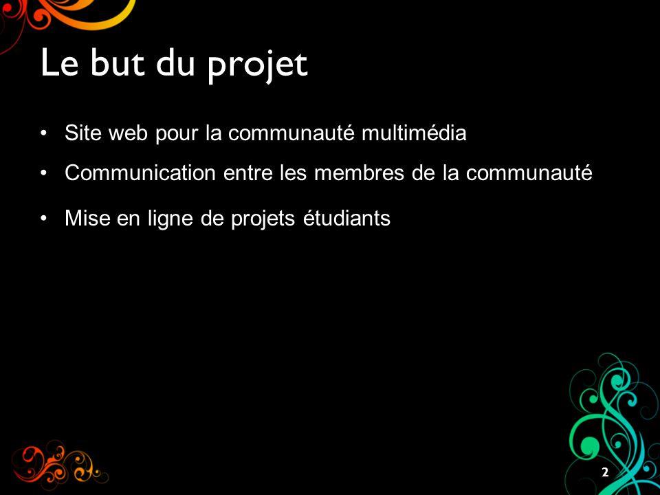 Le but du projet Site web pour la communauté multimédia Communication entre les membres de la communauté Mise en ligne de projets étudiants 2