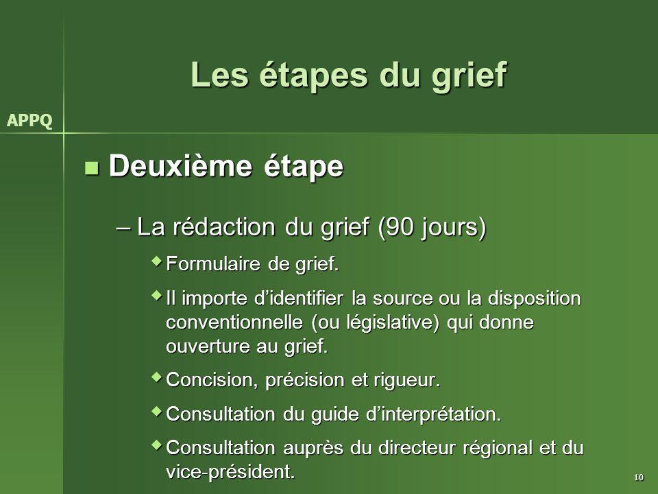 10 Les étapes du grief Deuxième étape Deuxième étape –La rédaction du grief (90 jours)  Formulaire de grief.  Il importe d'identifier la source ou l