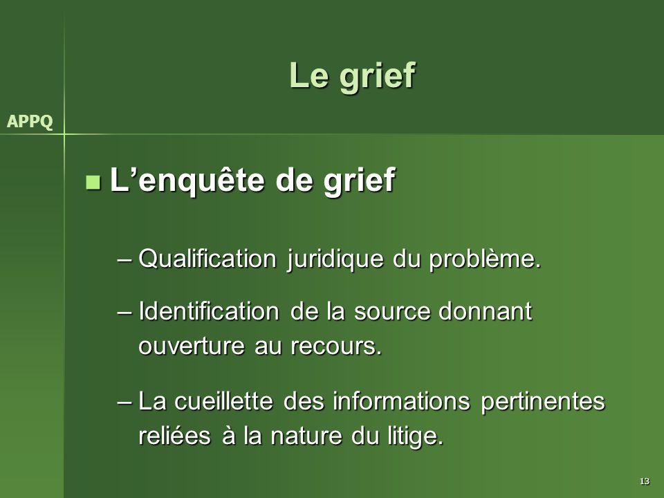 13 Le grief L'enquête de grief L'enquête de grief –Qualification juridique du problème. –Identification de la source donnant ouverture au recours. –La