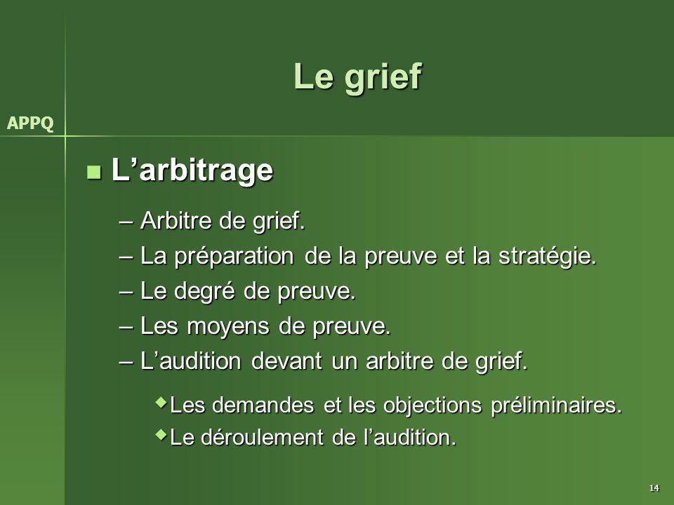 14 Le grief L'arbitrage L'arbitrage –Arbitre de grief. –La préparation de la preuve et la stratégie. –Le degré de preuve. –Les moyens de preuve. –L'au