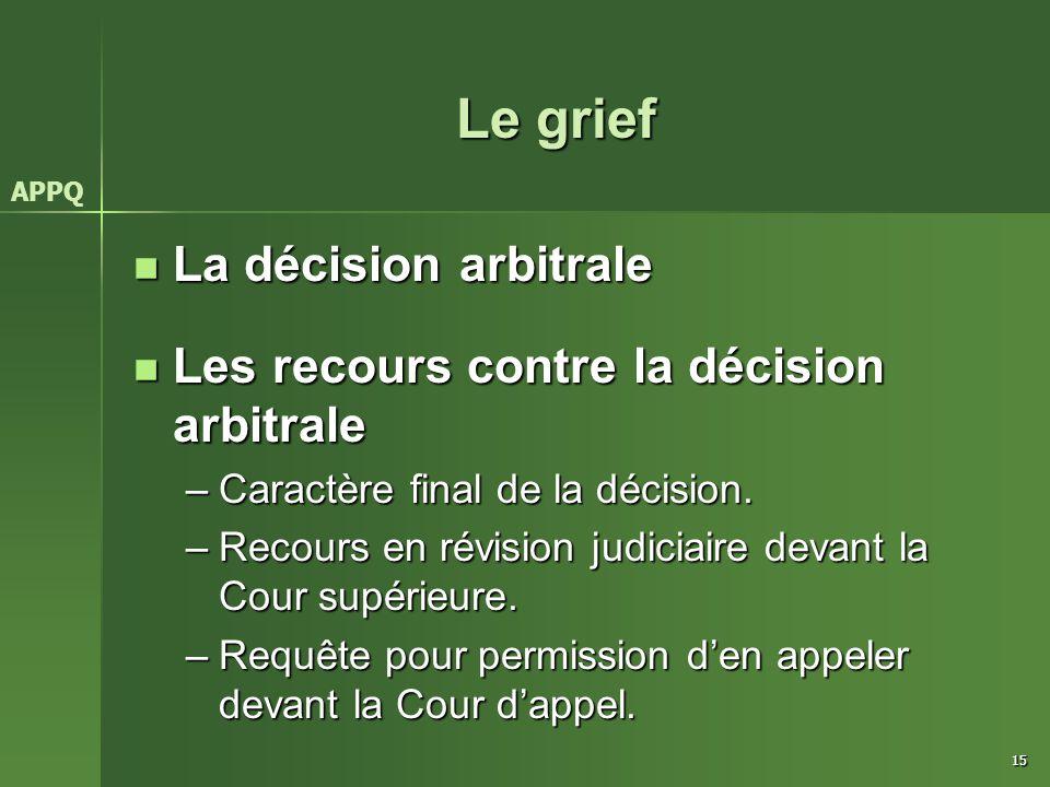 15 Le grief La décision arbitrale La décision arbitrale Les recours contre la décision arbitrale Les recours contre la décision arbitrale –Caractère f