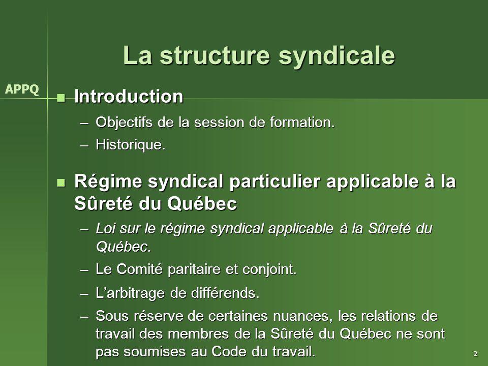 2 La structure syndicale APPQ Introduction Introduction –Objectifs de la session de formation. –Historique. Régime syndical particulier applicable à l