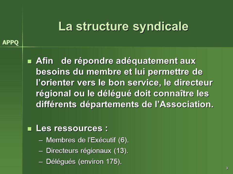 3 La structure syndicale Afin de répondre adéquatement aux besoins du membre et lui permettre de l'orienter vers le bon service, le directeur régional