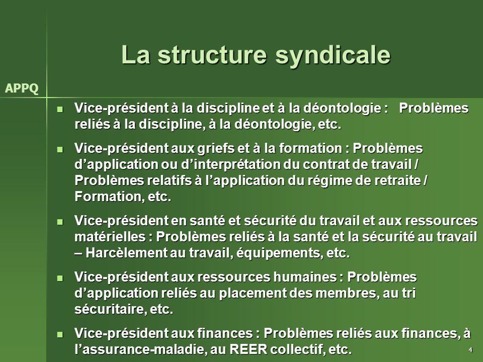 4 La structure syndicale Vice-président à la discipline et à la déontologie : Problèmes reliés à la discipline, à la déontologie, etc. Vice-président